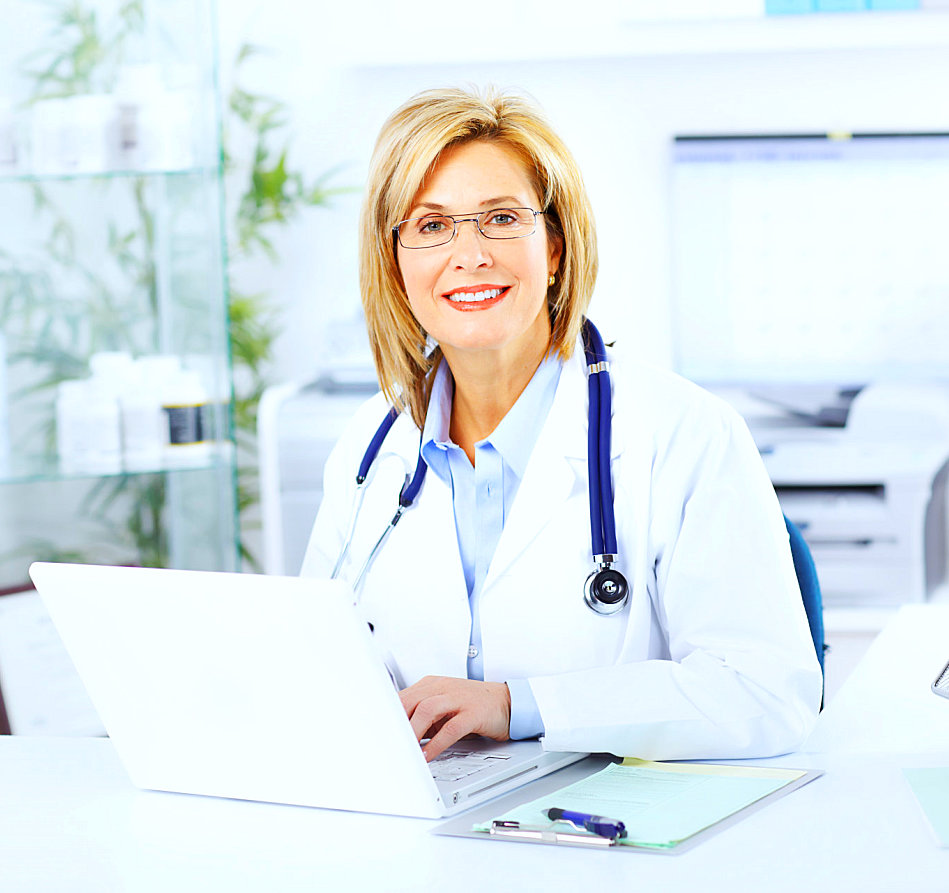pharmacist with stethoscope smiling
