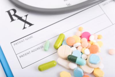 prescription paper with colorful medicine